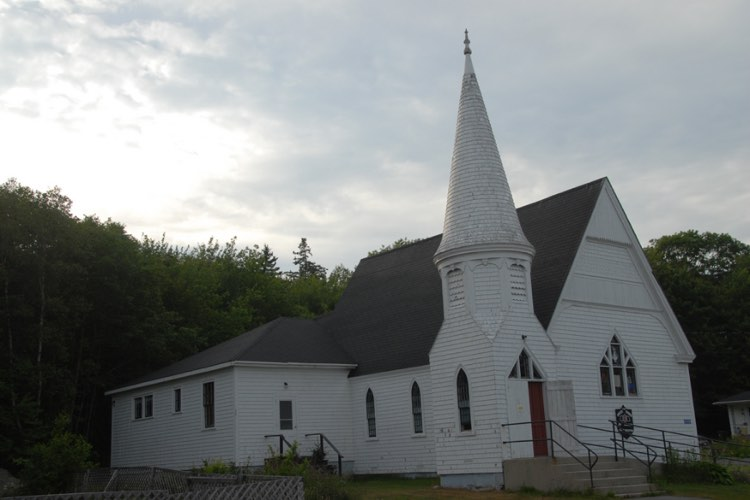 Erstwhile charge of atheist pastor Vospers, Port Mouton United Church, N.S., Canada