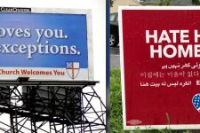 'Hate Has No Home Here' vs. 'All Are Welcome, No Exceptions'